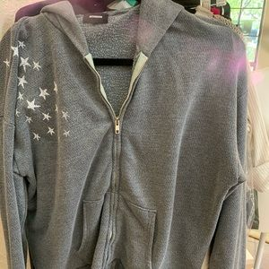 Grey zip up sweat shirt